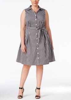 Charter Club Plus Size Gingham Belted Fit & Flare Shirt Dress, Only at Macy's