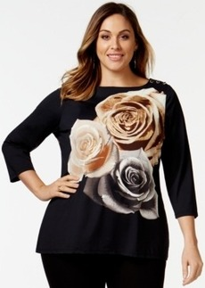 Charter Club Plus Size Graphic Three-Quarter-Sleeve Top, Only at Macy's