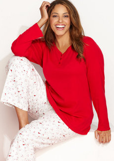 Charter Club Plus Size Holiday Lane Flannel Mix it Up Pajama Set