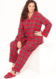 Charter Club Plus Size Holiday Lane Flannel Top and Pajama Pants Set