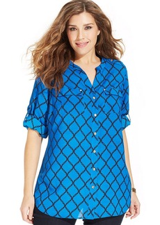 Charter Club Plus Size Iconic-Print Utility Shirt