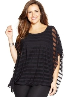 Alfani Plus Size Illusion-Stripe Poncho Top