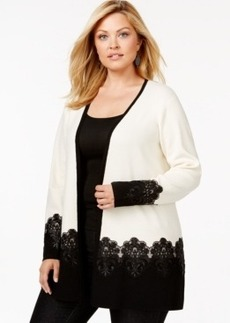 Charter Club Plus Size Lace-Hem Cardigan, Only at Macy's