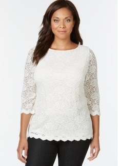 Charter Club Plus Size Lace-Overly Top, Only at Macy's