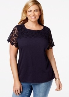 Charter Club Plus Size Lace-Trim Short-Sleeve Top, Only at Macy's