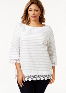 Charter Club Plus Size Lace-Trim Striped Top, Only at Macy's
