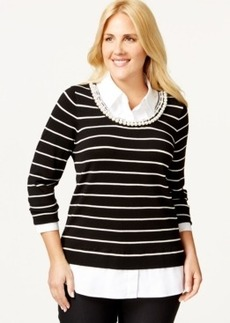Charter Club Plus Size Layered-Look Embellished Top, Only at Macy's