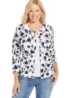 Charter Club Plus Size Leaf-Print Cardigan