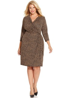 Charter Club Plus Size Leopard-Print Faux-Wrap Dress