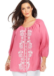 Charter Club Plus Size Linen Beaded Peasant Top
