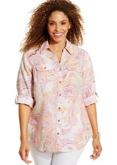 Charter Club Plus Size Linen Paisley-Print Shirt