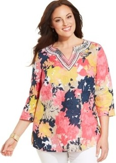 Charter Club Plus Size Linen Printed Beaded Tunic