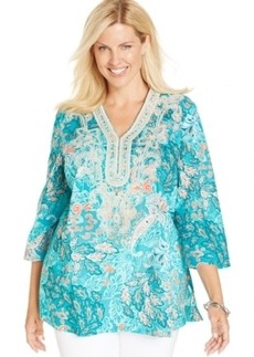 Charter Club Plus Size Linen Printed Embroidered Tunic