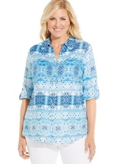 Charter Club Plus Size Linen Printed Shirt