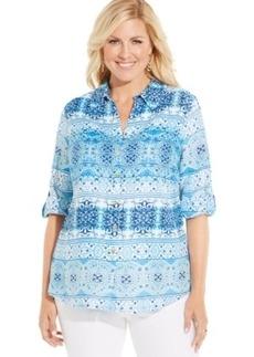 Charter Club Plus Size Linen Printed Shirt