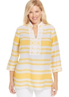 Charter Club Plus Size Linen Striped Embellished Tunic