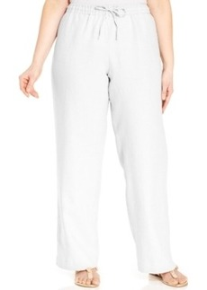 Charter Club Plus Size Linen Wide-Leg Drawstring Pants