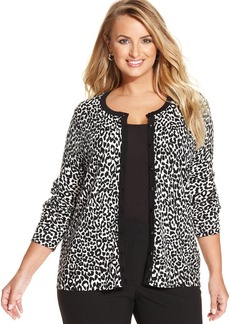 Charter Club Plus Size Long-Sleeve Animal-Print Cardigan