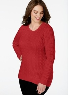 Charter Club Plus Size Long-Sleeve Cable-Knit Sweater, Only at Macy's