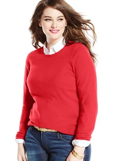 Charter Club Plus Size Long-Sleeve Cashmere Crew-Neck Sweater