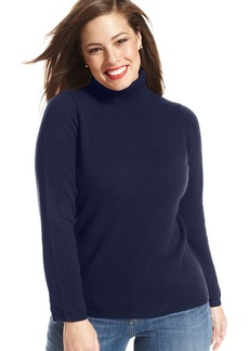 Charter Club Plus Size Long-Sleeve Cashmere Turtleneck Sweater
