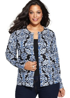 Charter Club Plus Size Long-Sleeve Damask-Print Cardigan
