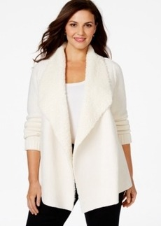 Charter Club Plus Size Long-Sleeve Faux-Fur Cardigan, Only at Macy's
