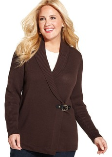 Charter Club Plus Size Long-Sleeve Faux-Wrap Sweater