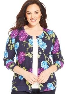 Charter Club Plus Size Long-Sleeve Floral-Print Cardigan