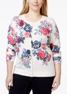 Charter Club Plus Size Long-Sleeve Floral-Print Cardigan, Only at Macy's