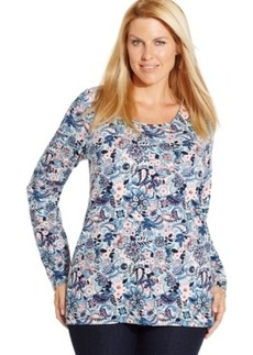 Charter Club Plus Size Long-Sleeve Floral-Print Tee