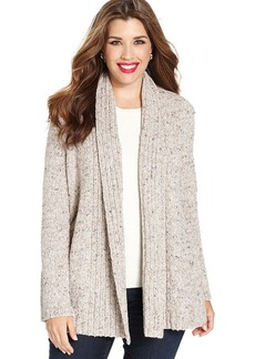 Charter Club Plus Size Long-Sleeve Marled-Knit Cardigan