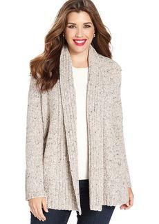 Charter Club Plus Size Long-Sleeve Marled-Knit Cardigan