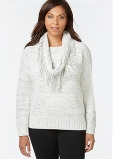 Charter Club Plus Size Long-Sleeve Marled-Knit Scarf Sweater, Only at Macy's