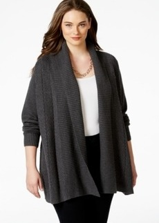 Charter Club Plus Size Long-Sleeve Open-Front Cardigan, Only at Macy's
