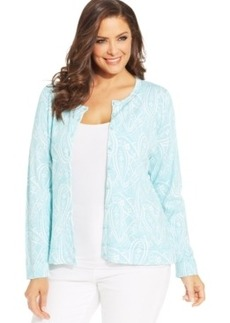 Charter Club Plus Size Long-Sleeve Paisley-Print Cardigan