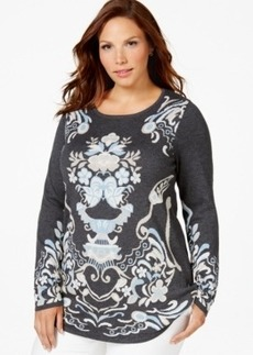 Charter Club Plus Size Long-Sleeve Printed Sweater, Only at Macy's