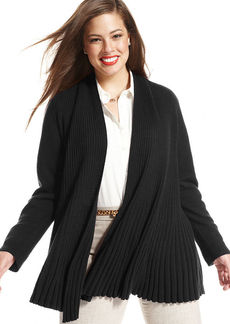 Charter Club Plus Size Long-Sleeve Ribbed Open-Front Cashmere Cardigan