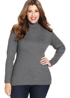 Charter Club Plus Size Long-Sleeve Ribbed Turtleneck Sweater