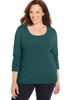 Charter Club Plus Size Long-Sleeve Scoop-Neck Top, Only at Macy's