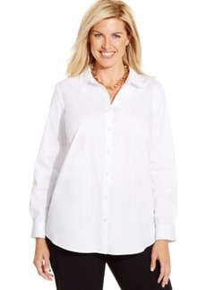 Charter Club Plus Size Long-Sleeve Shirt, Only at Macy's