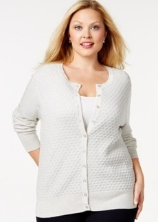Charter Club Plus Size Long-Sleeve Textured Cardigan, Only at Macy's