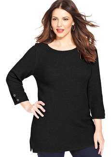 Charter Club Plus Size Long-Sleeve Tunic Sweater
