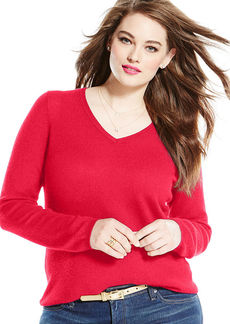 Charter Club Plus Size Long-Sleeve V-Neck Cashmere Sweater