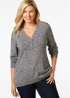 Charter Club Plus Size Long-Sleeve V-Neck Sweater, Only at Macy's