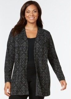 Charter Club Plus Size Medallion-Print Open-Front Cardigan, Only at Macy's