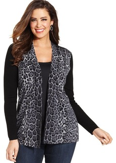 Charter Club Plus Size Merino-Wool Cheetah-Print Cardigan