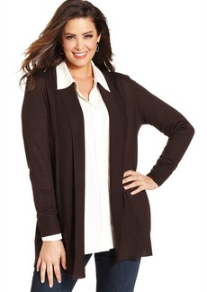 Charter Club Plus Size Merino-Wool Open-Front Cardigan
