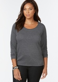 Charter Club Plus Size Metallic Striped Top, Only at Macy's