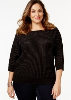 Charter Club Plus Size Metallic Three-Quarter-Sleeve Sweater, Only at Macy's